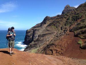Hiking Red Hill clifs on Kalalau Trail