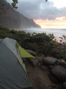 Camping at Kalalau Beach